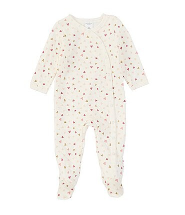 Image of Starting Out Baby Girls Newborn-6 Months Long-Sleeve Heart Quilted Footed Coverall
