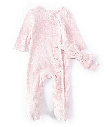Image of Starting Out Baby Girls Newborn-6 Months Long-Sleeve Ruffled Rumba Footed Coverall Set