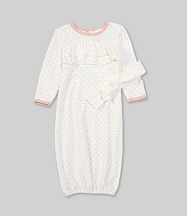 Image of Starting Out Baby Girls Newborn-6 Months Polka-Dot Ruffle Gown