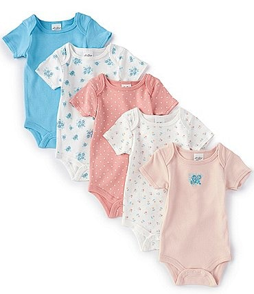 Image of Starting Out Baby Girls Newborn-6 Months Solid/Floral 5-Pack Bodysuits