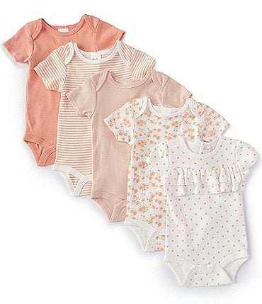 Image of Starting Out Baby Girls Newborn-6 Months Solid/Printed 5-Pack Bodysuits