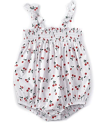 Image of Starting Out Baby Girls Newborn-9 Months Cherry-Print Bubble Romper