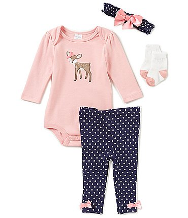 Image of Starting Out Baby Girls Newborn-9 Months Dotted Deer 4-Piece Layette Set