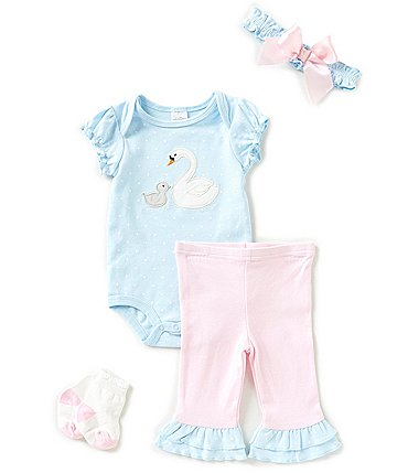 Image of Starting Out Baby Girls Newborn-9 Months Dotted Swan 4-Piece Layette Set