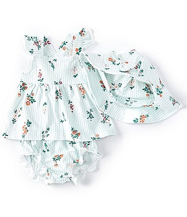 Image of Starting Out Baby Girls Newborn-9 Months Floral Apron Top, Diaper Cover & Sun Hat Set