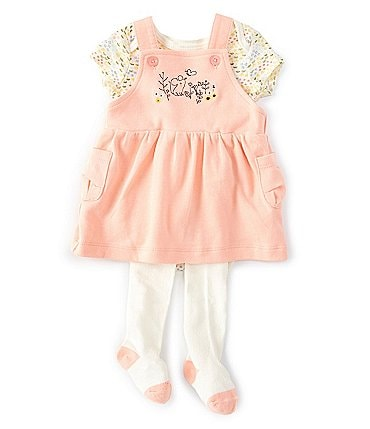 Image of Starting Out Baby Girls Newborn-9 Months Floral Bodysuit, Overall Jumper & Footed Tights Set