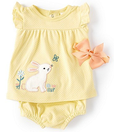 Image of Starting Out Baby Girls Newborn-9 Months Flutter-Sleeve Bunny Dotted Top & Diaper Cover Set