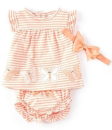 Image of Starting Out Baby Girls Newborn-9 Months Flutter-Sleeve Butterfly Stripe Top & Diaper Cover Set