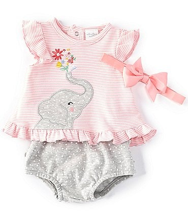 Image of Starting Out Baby Girls Newborn-9 Months Flutter-Sleeve Elephant Stripe Top & Diaper Cover Set