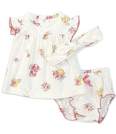 Image of Starting Out Baby Girls Newborn-9 Months Flutter-Sleeve Floral Top & Diaper Cover Set