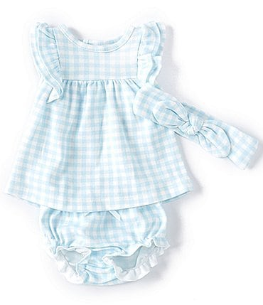 Image of Starting Out Baby Girls Newborn-9 Months Flutter-Sleeve Gingham Top & Diaper Cover Set