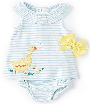 Image of Starting Out Baby Girls Newborn-9 Months Ruffle-Collar Ducks Stripe Top & Diaper Cover Set