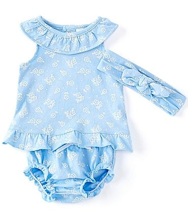 Image of Starting Out Baby Girls Newborn-9 Months Ruffle-Collar Floral Top & Diaper Cover Set