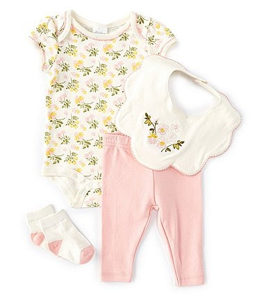 Image of Starting Out Baby Girls Newborn-9 Months Short-Sleeve Floral Bodysuit, Leggings & Flower-Embroidered Bib Set