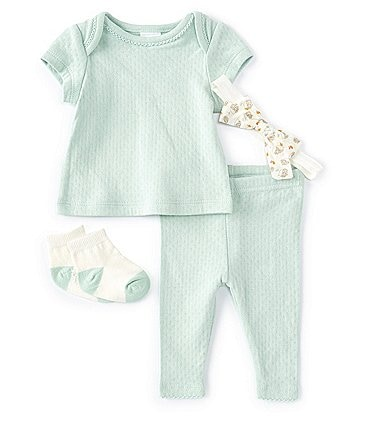Image of Starting Out Baby Girls Newborn-9 Months Short-Sleeve Pointelle Top & Legging Set
