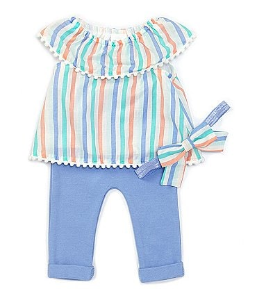 Image of Starting Out Baby Girls Newborn-9 Months Stripe Top & Legging Set