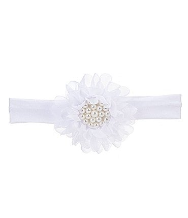 Image of Starting Out Baby Girls Pearl Chiffon Flower Headwrap