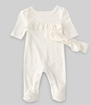 Image of Starting Out Baby Girls Preemie-6 Months Long-Sleeve Dotted Footed Coverall