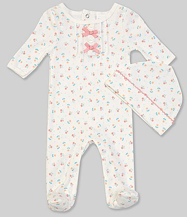 Image of Starting Out Baby Girls Preemie-6 Months Long-Sleeve Floral Footed Coverall & Ruffle Trim Hat Set