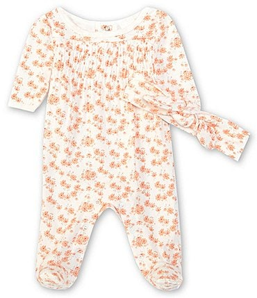 Image of Starting Out Baby Girls Preemie-6 Months Long-Sleeve Smocked Floral Footed Coverall