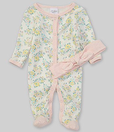 Image of Starting Out Baby Girls Preemie-9 Months Long-Sleeve Floral Footed Coverall