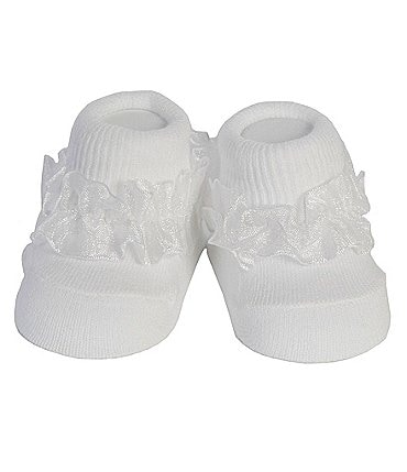 Image of Starting Out Baby Girls Ruffle-Trim Turn Cuff Booties