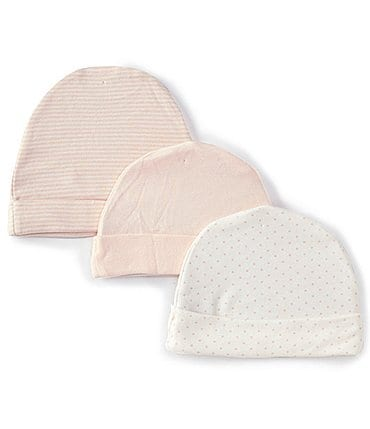 Image of Starting Out Baby Girls Solid/Stripe/Dotted 3-Pack Beanie