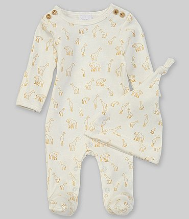 Image of Starting Out Baby Preemie-6 Months Long-Sleeve Giraffe Footed Coverall & Knotted Hat Set