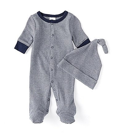 Image of Starting Out Navy Baby Boys Preemie-6 Months Long-Sleeve Stripe Footed Coverall