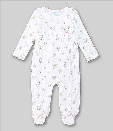 Image of Edgehill Collection Treasures Baby Girls Preemie-6 Months Floral Crochet-Trim Footed Coverall