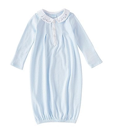 Image of Edgehill Collection Treasures Baby Newborn-6 Months Peter-Pan Collar Stars-Embroidered Nightgown