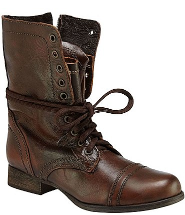 Image of Steve Madden Troopa Military-Inspired Zipper Lace Up Leather Combat Boots