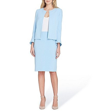Image of Tahari ASL Pebble Crepe Flare-Sleeve Jacket Skirt Suit