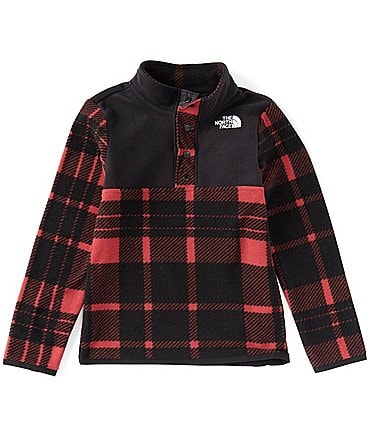 Image of The North Face Little Boys 2T-6T Holiday Plaid Glacier Quarter-Snap Jacket Pullover