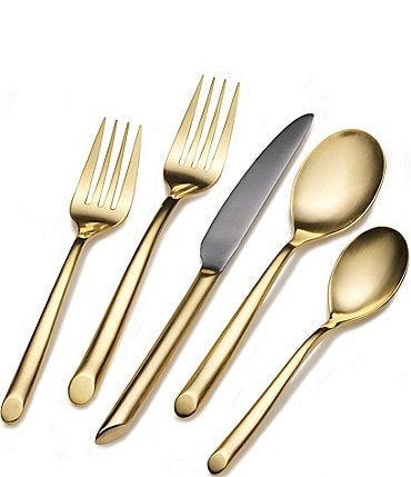 Image of Towle Silversmiths Wave Gold Cutaway 20-Piece Stainless Steel Flatware Set