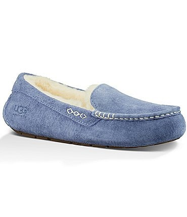 Image of UGG® Ansley Water Resistant Suede Stitch Detailed Moccasin Slippers