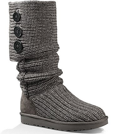 Image of UGG® Classic Cardy Button Detailed Knit Boots