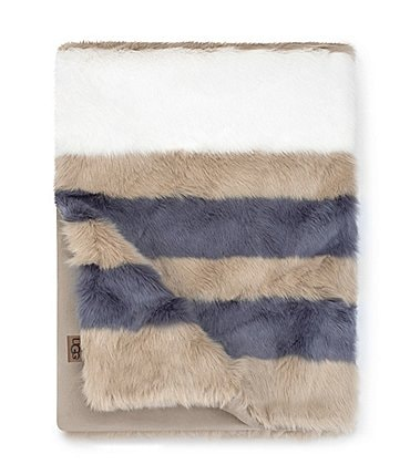Image of UGG® Royale Striped Faux Fur Throw