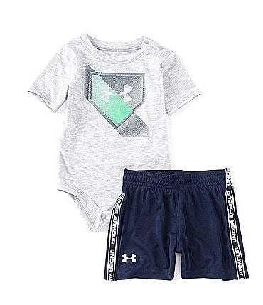 Image of Under Armour Baby Boys Newborn-12 Months Short-Sleeve Base Logo Bodysuit & Shorts Set