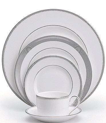 Image of Vera Wang by Wedgwood Grosgrain Striped & Dotted Bone China 5-Piece Place Setting