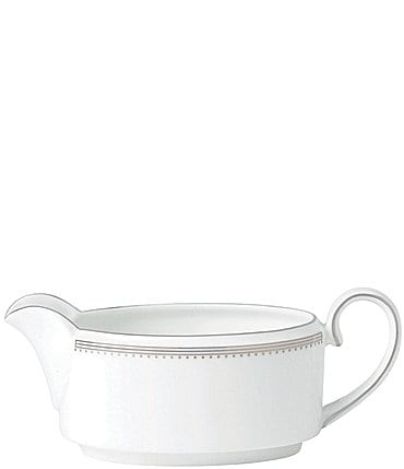 Image of Vera Wang by Wedgwood Grosgrain Striped & Dotted Bone China Gravy Boat