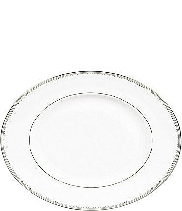 Image of Vera Wang by Wedgwood Grosgrain Striped & Dotted Platinum Bone China Oval Platter