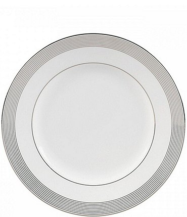 Image of Vera Wang by Wedgwood Grosgrain Striped Platinum Bone China Accent Salad Plate