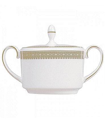 Image of Vera Wang by Wedgwood Lace Gold Bone China Sugar Bowl with Lid