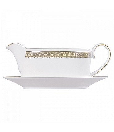 Image of Vera Wang by Wedgwood Vera Lace Gold China Gravy Boat & Stand
