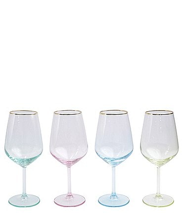 Image of VIETRI Rainbow Assorted Wine Glass Set of 4