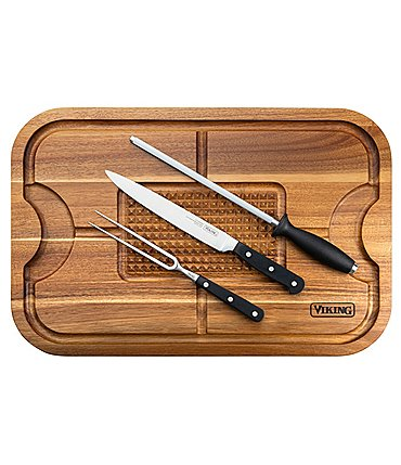 Image of Viking Acacia Wood Cutting Board with 3-Piece German Steel Carving Set