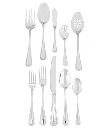 Image of Wallace Silversmiths Bead 45-Piece Stainless Steel Flatware Set