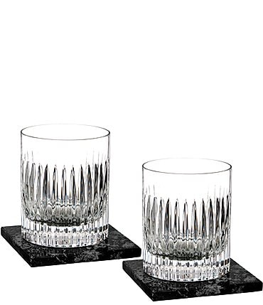 Image of Waterford Crystal Aras Double Old-Fashion Set of 2 Glasses with Marble Coasters