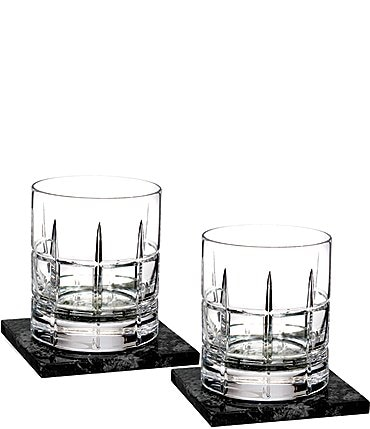 Image of Waterford Crystal Cluin Double Old-Fashion Glasses with Marble Coaster